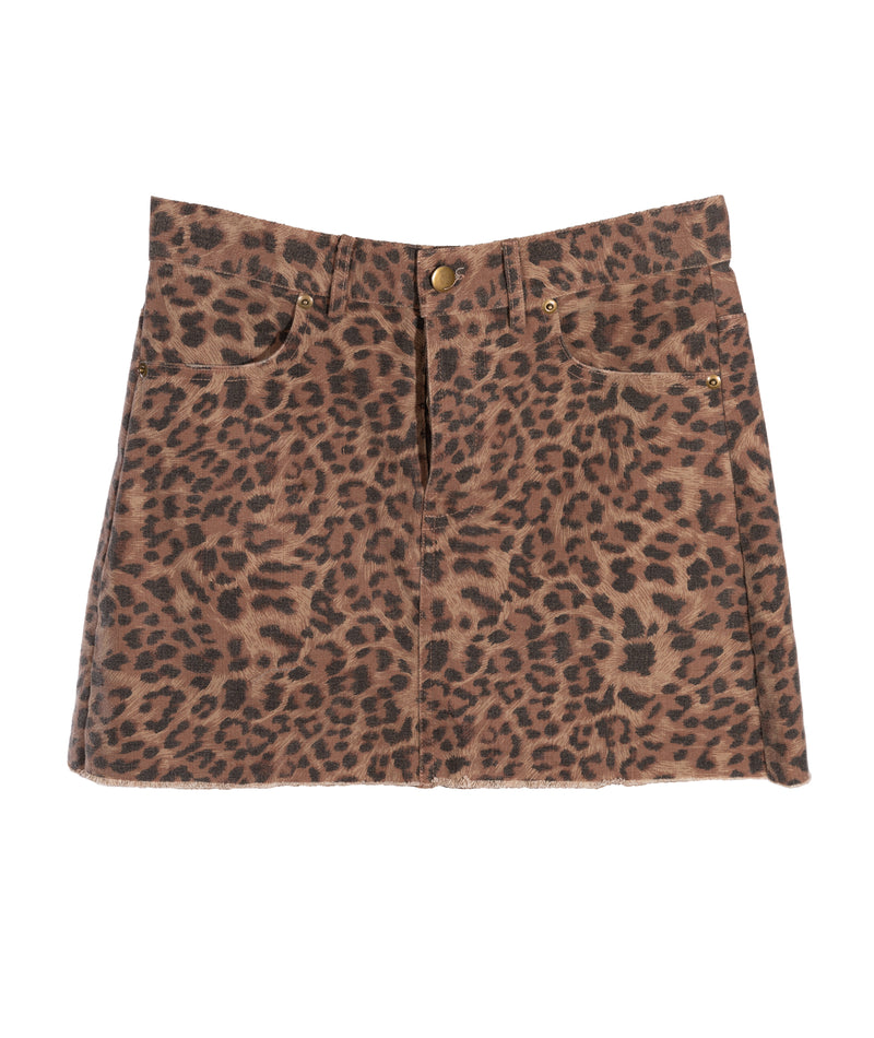 Olivaceous Women Leopard Denim Skirt