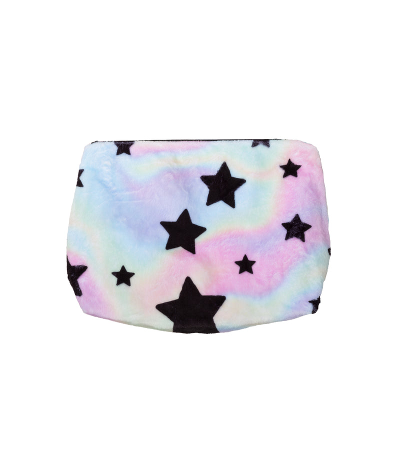 Penelope Wildberry Pastel Tie Dye Fuzzy Cosmetic Bag