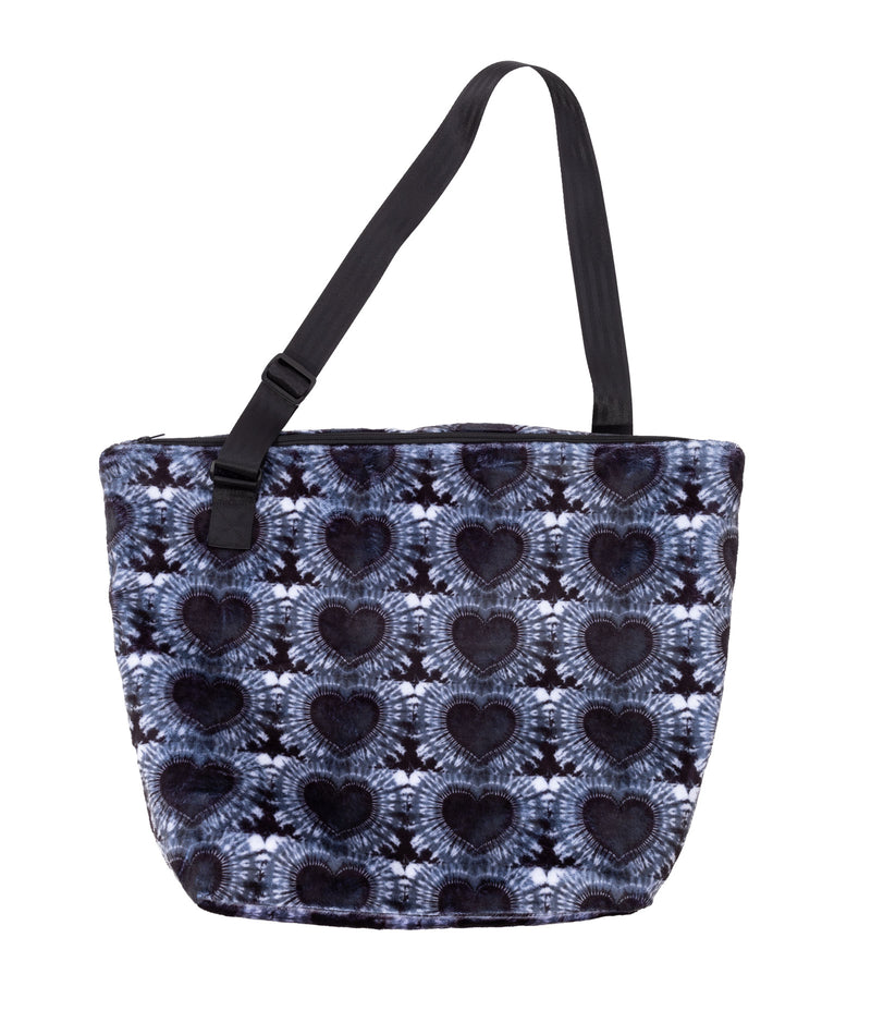 Penelope Wildberry Black Heart Fuzzy Vacay Tote