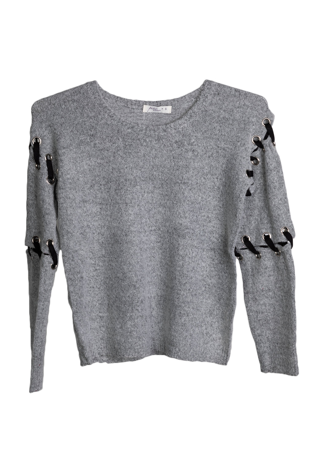 Pinc Premium Girls Heather Grey and Black Stitch Sweater
