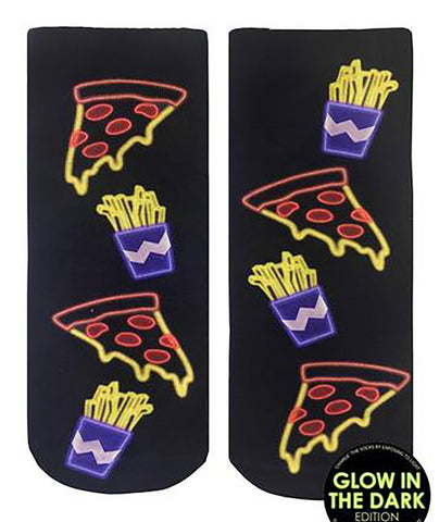 Living Royal Pizza and Fries Glow in the Dark Socks
