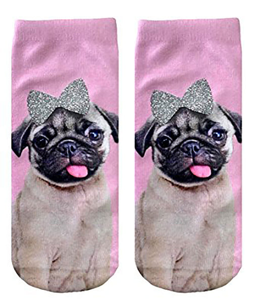 Living Royal Pug with Bow Glitter Socks