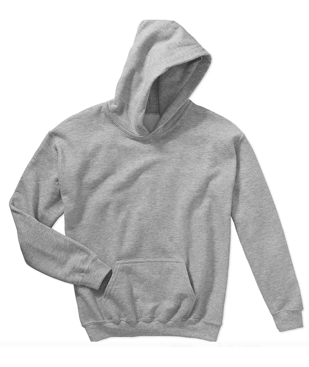Gildan Youth Pullover Hoodie in White, Grey or Light Grey