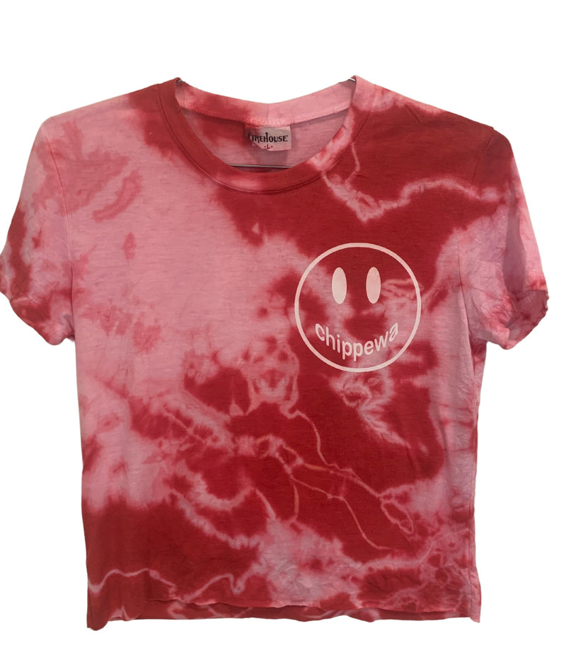 Red Tie Dye Short Sleeve Tee With Small White Camp Smiley Juniors