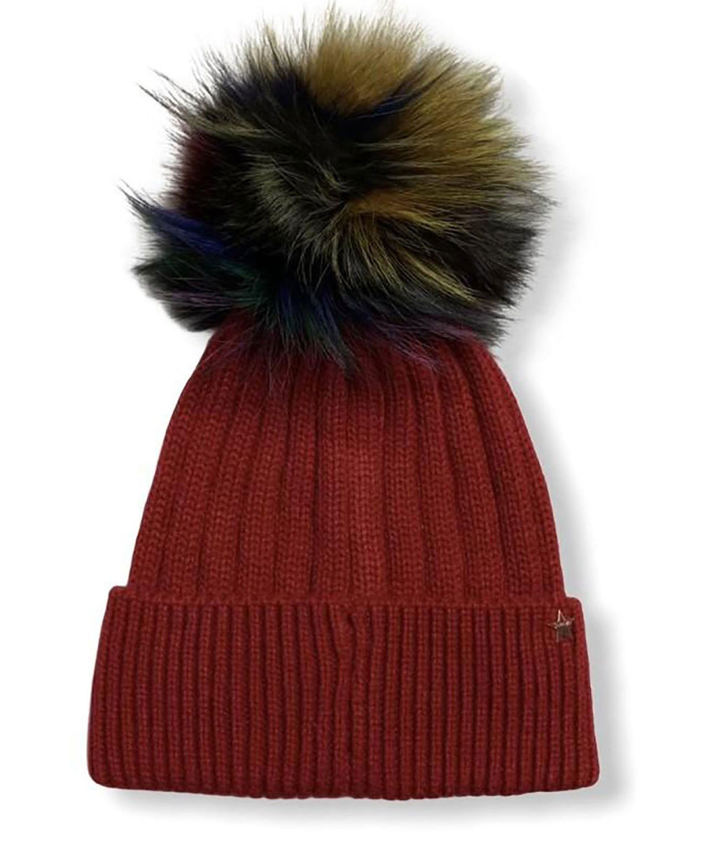 Jocelyn Kids Red Love Hat With Faux Fur Pom