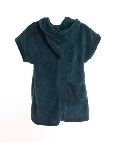 Made with Love and Kisses Girls Hunter Green Plush Romper