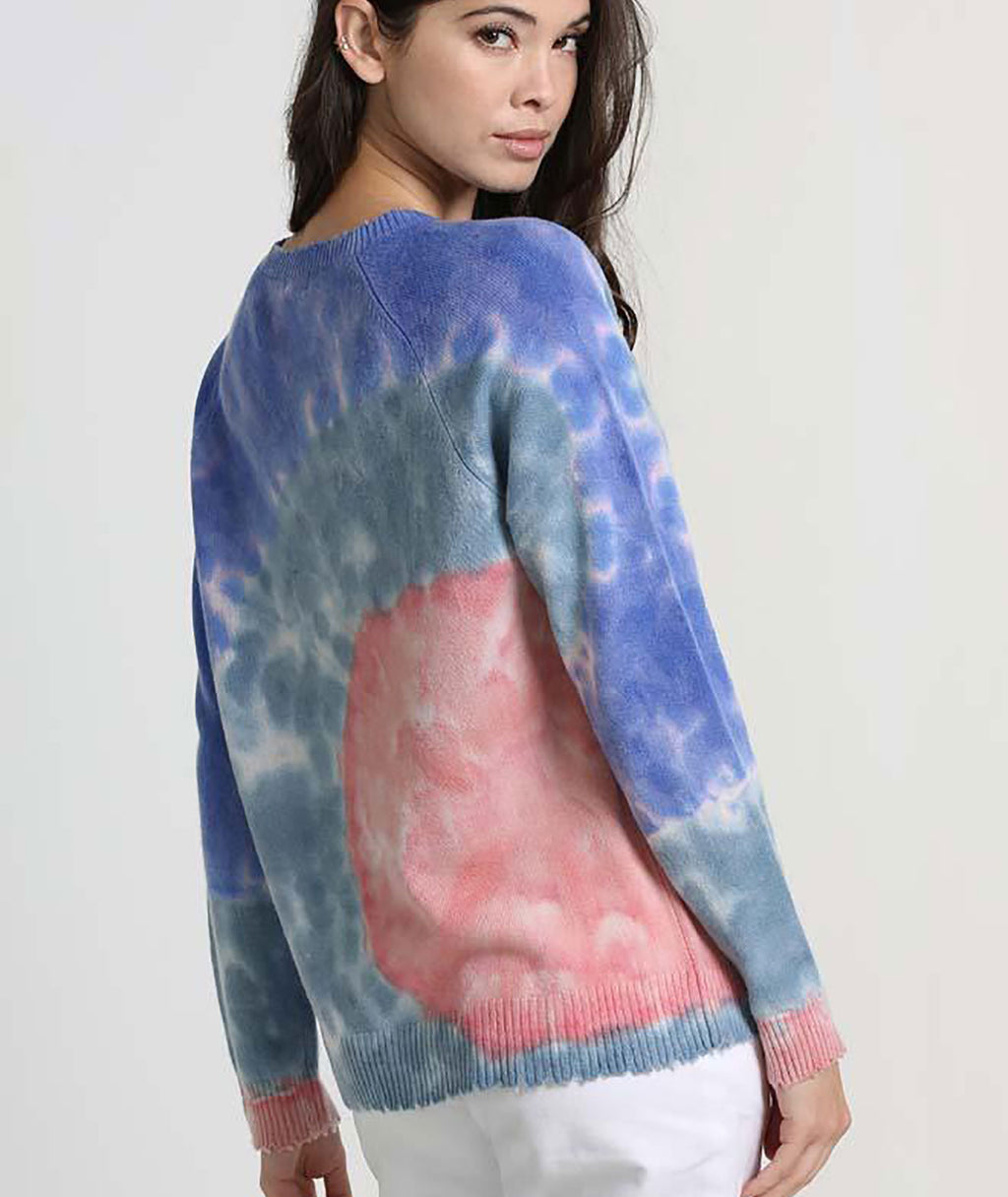 Minnie Rose Women Lilac Combo Tie Dye Fray Edge Sweater