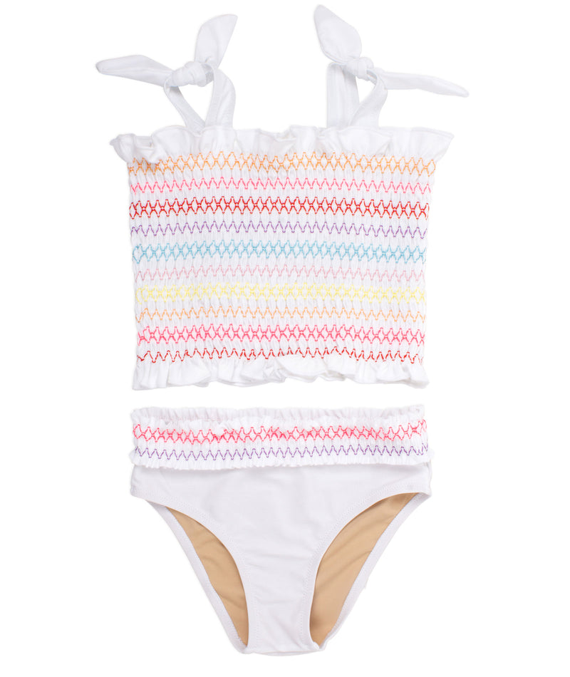 Shade Critters Girls Smocked Multi-Stripe Tankini