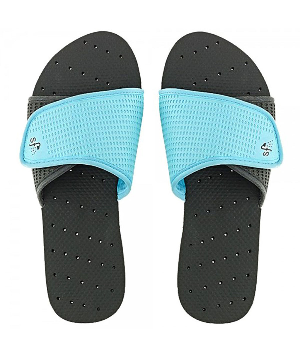 ce580a3ff Showaflops Black and Turquoise Slides - Frankie s on the Park