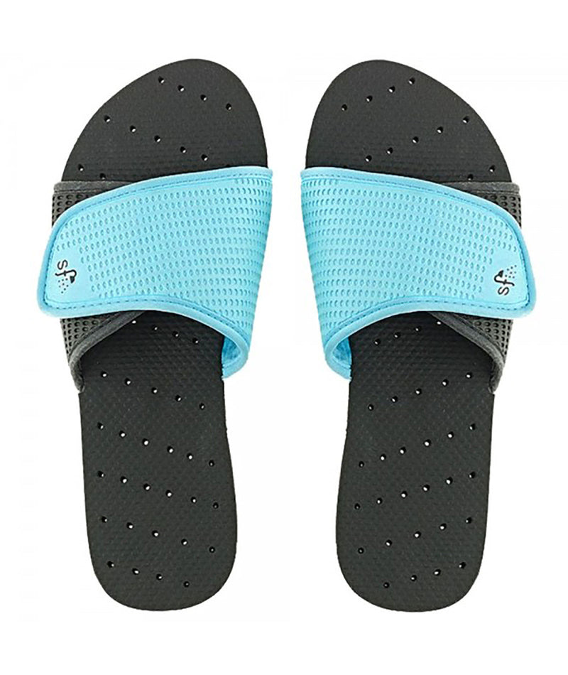 Showaflops Black and Turquoise Slides - Frankie's on the Park