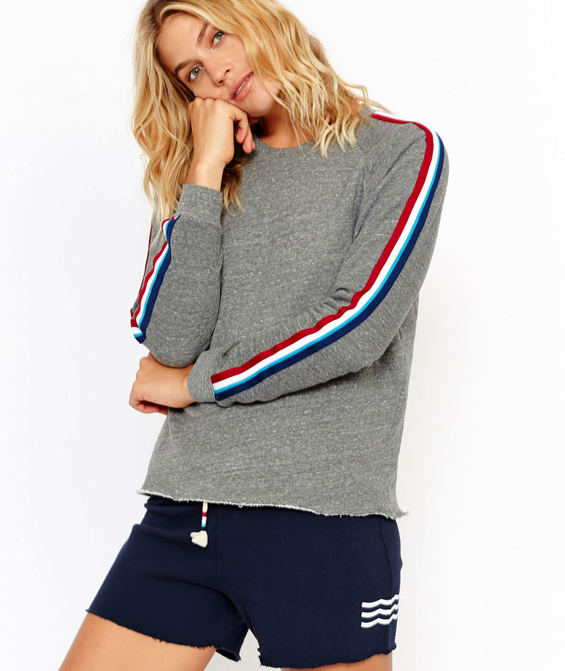 Sol Angeles Women Flag Stripe Grey Pullover