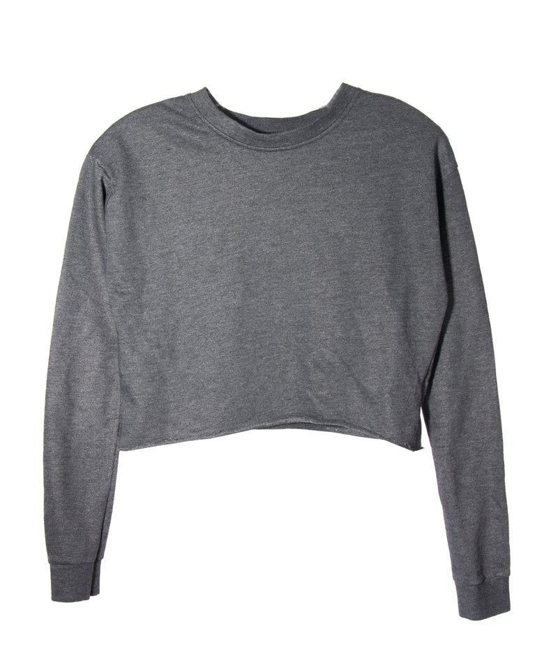 So Nikki Girls French Terry Crop Sweatshirt in White or Charcoal Grey