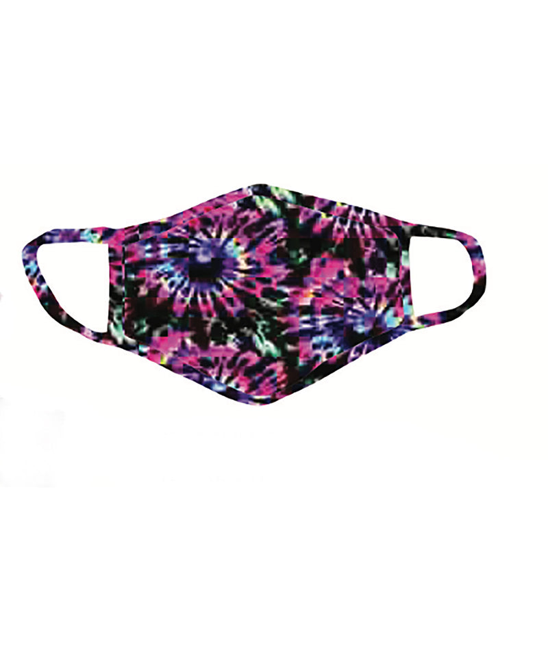 Sparkle by Stoopher Fuchsia and Purple Rainbow Tie-Dye Mask