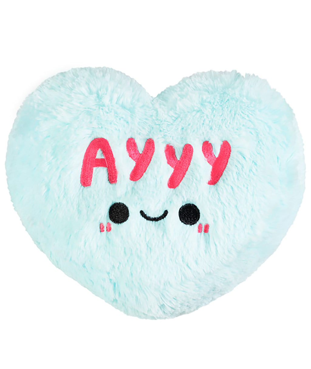 Squishable Blue Candy Heart AYYY Pillow