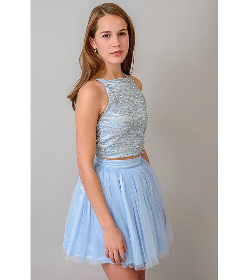 Stella M'Lia Girls Pale Blue Emilee Two-Piece