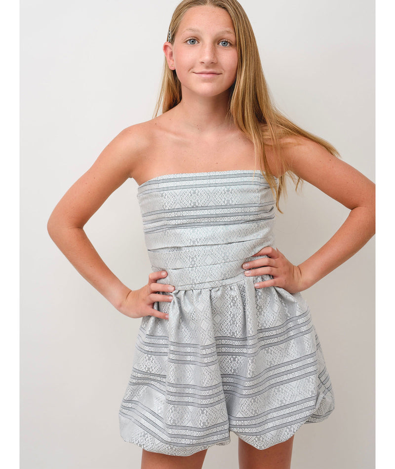 Stella M'Lia Girls Silver Candy Cane Dress