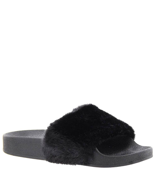 Steve Madden Black Fur Slides