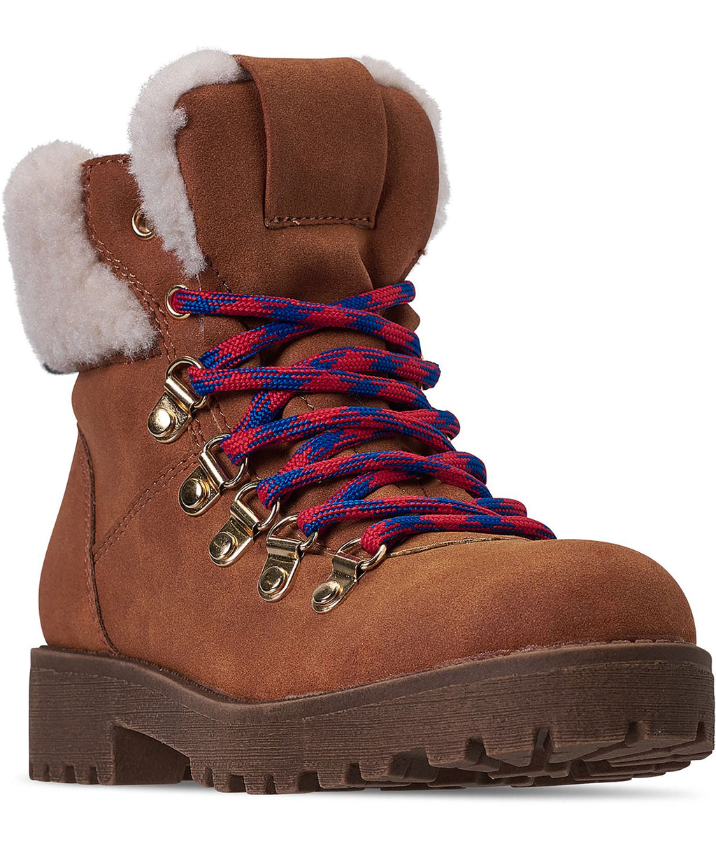 Steve Madden Girls JBoadway Cognac Lace Up Boots