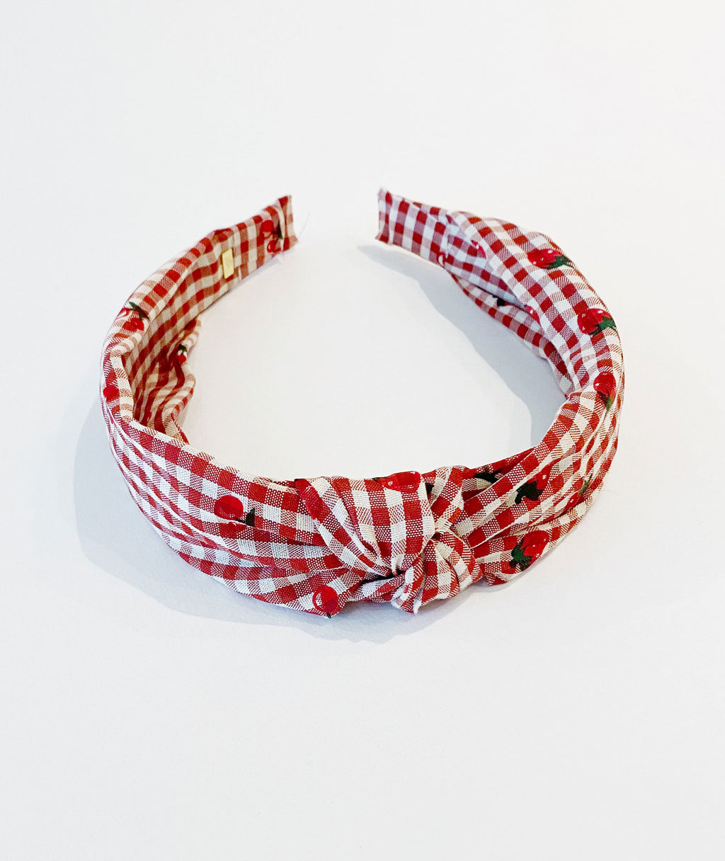Bari Lynn Strawberry & Cherry Knot Gingham Headband