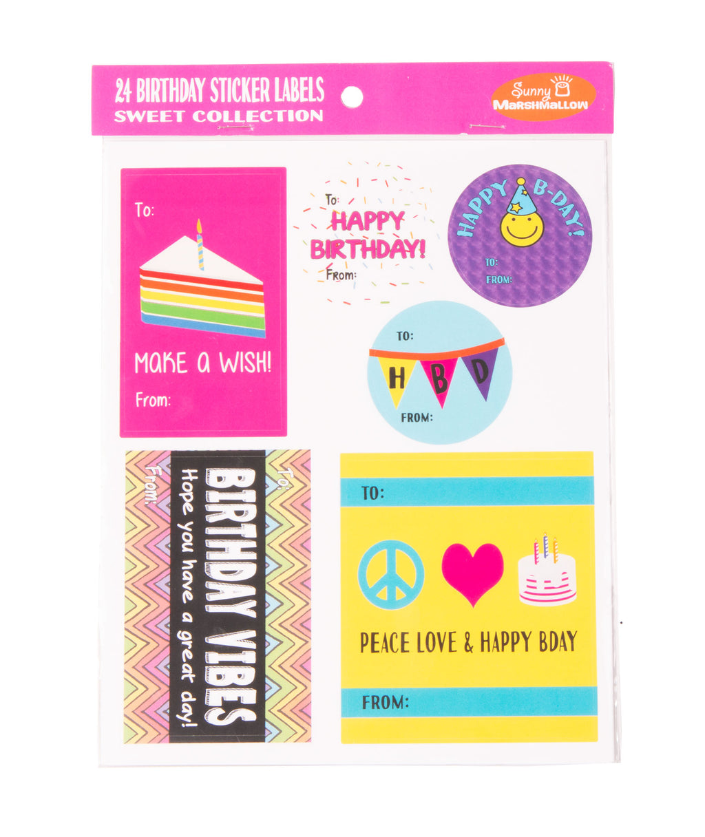 Sunny Marshmallow Birthday Sweets Sticker Labels