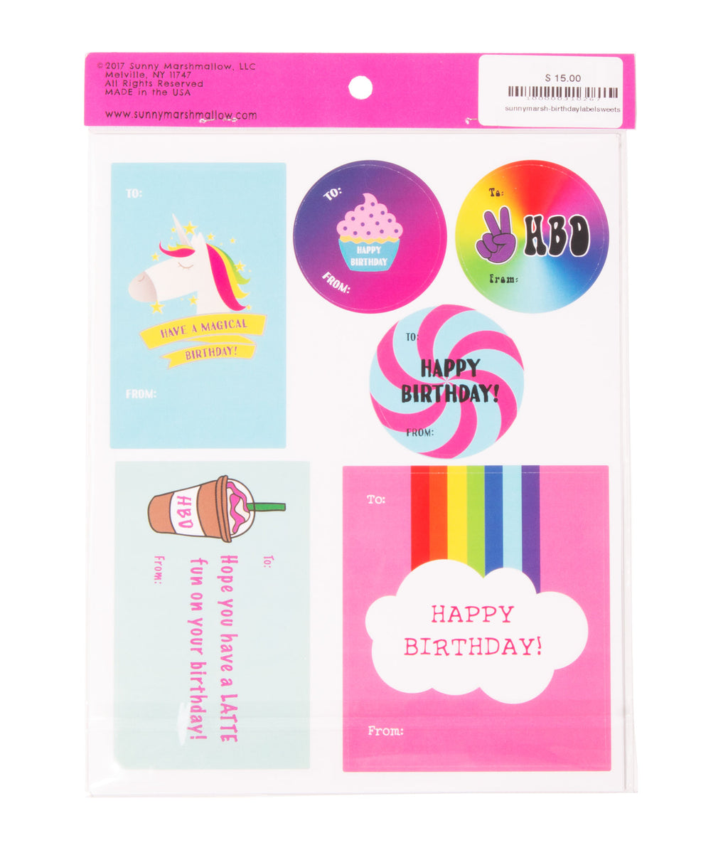 Birthday Sweets Sticker Labels