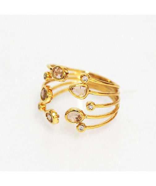 TAI Adjustable Gold Multi Peach Stone Ring