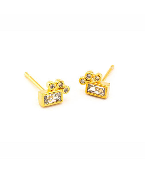 TAI Gold Baguette Stud Earrings