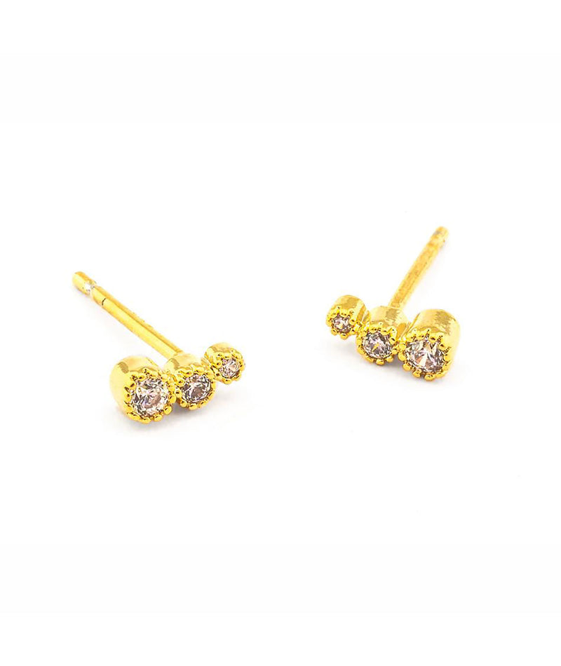 TAI Gold Graduated Bezel Stone Post Earrings - Frankie's on the Park