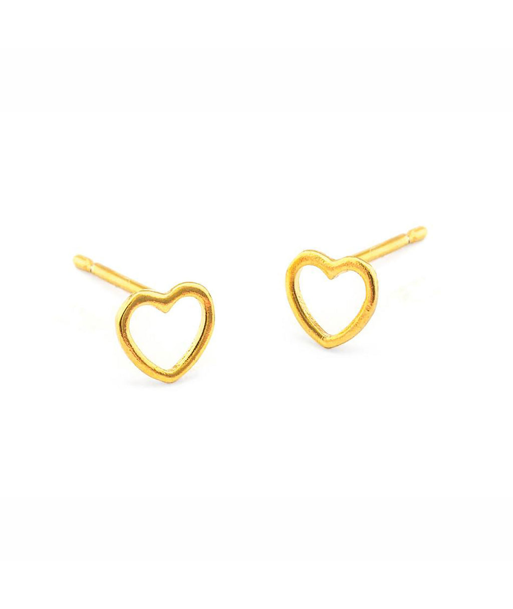 TAI Gold Open Heart Stud Post Earrings - Frankie's on the Park