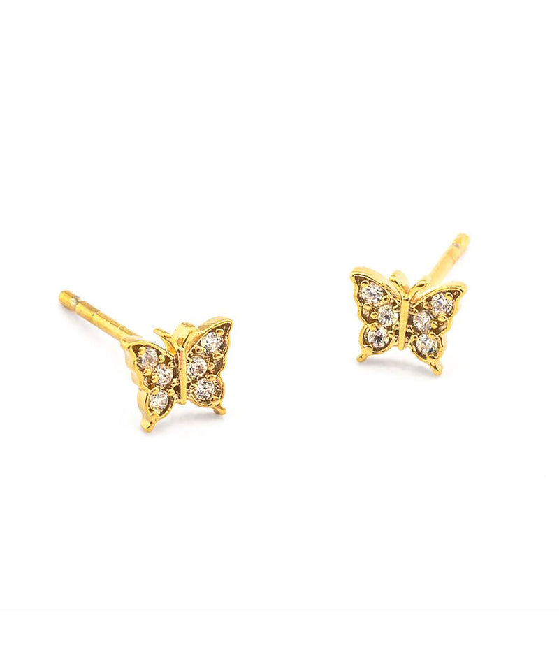 Tai Pave Butterfly Post Earrings