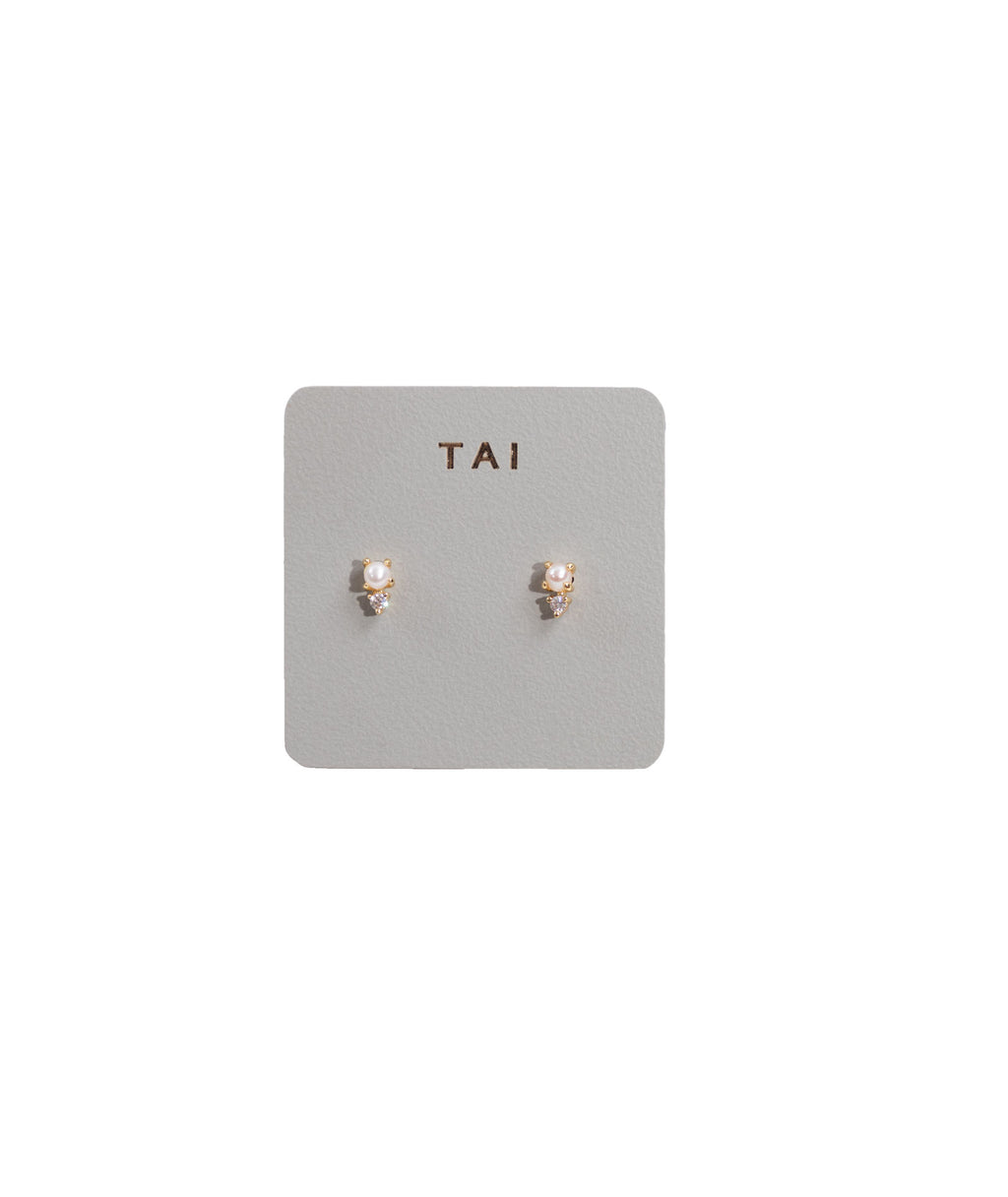 TAI Gold Pearl Stud Earrings