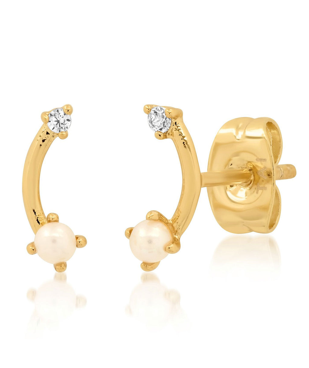 TAI Gold Pearl Arc Stud Earrings