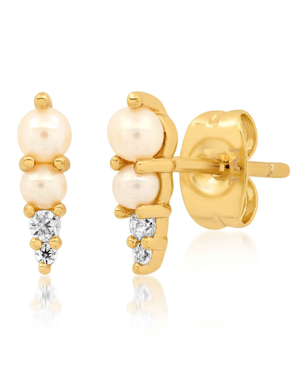 TAI Gold Two Pearl Stud Earrings