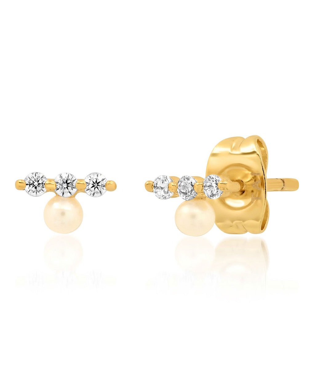 TAI Gold Pearl Triple Stud Earrings