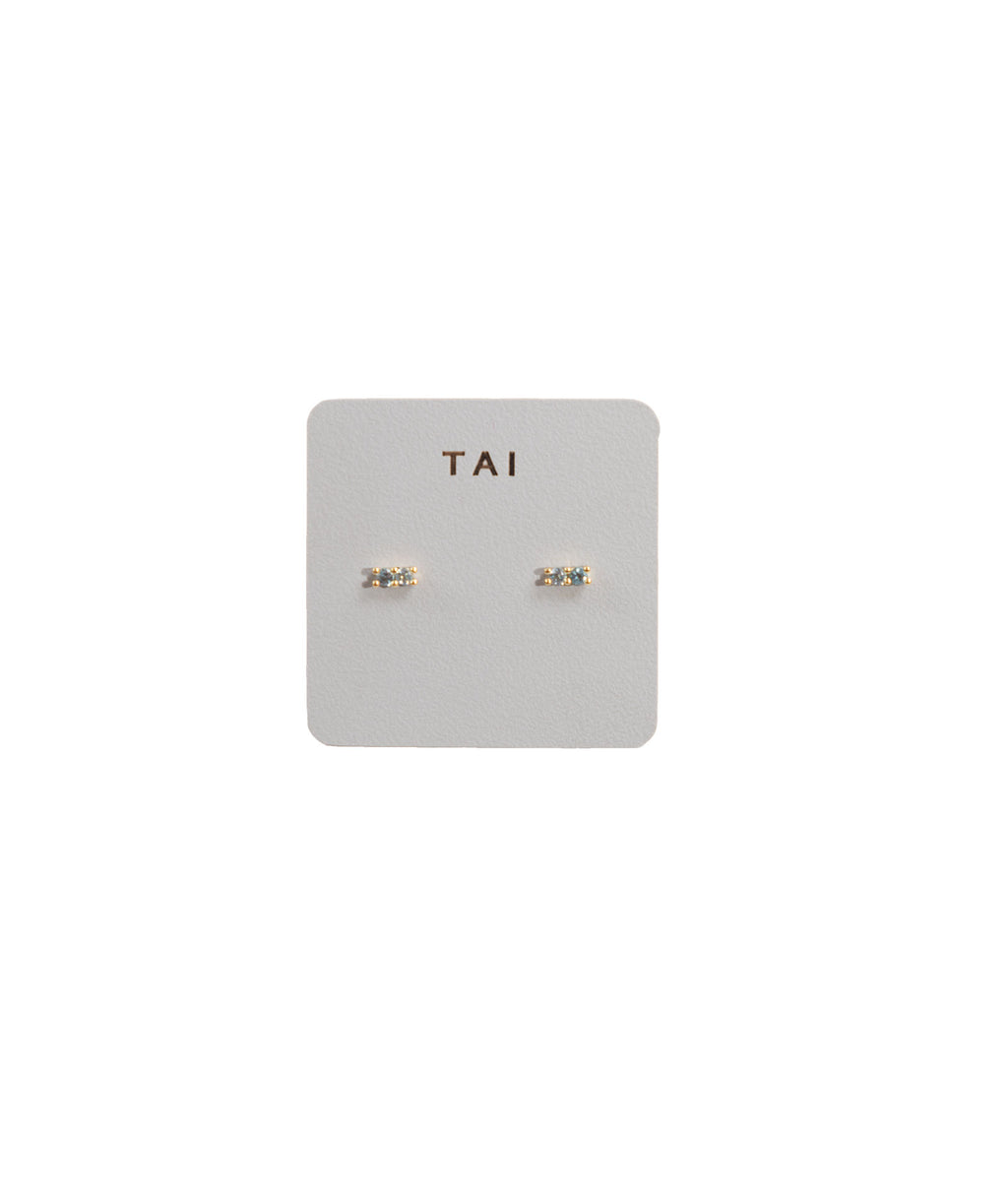 TAI Gold Mini Blue Stud Earrings