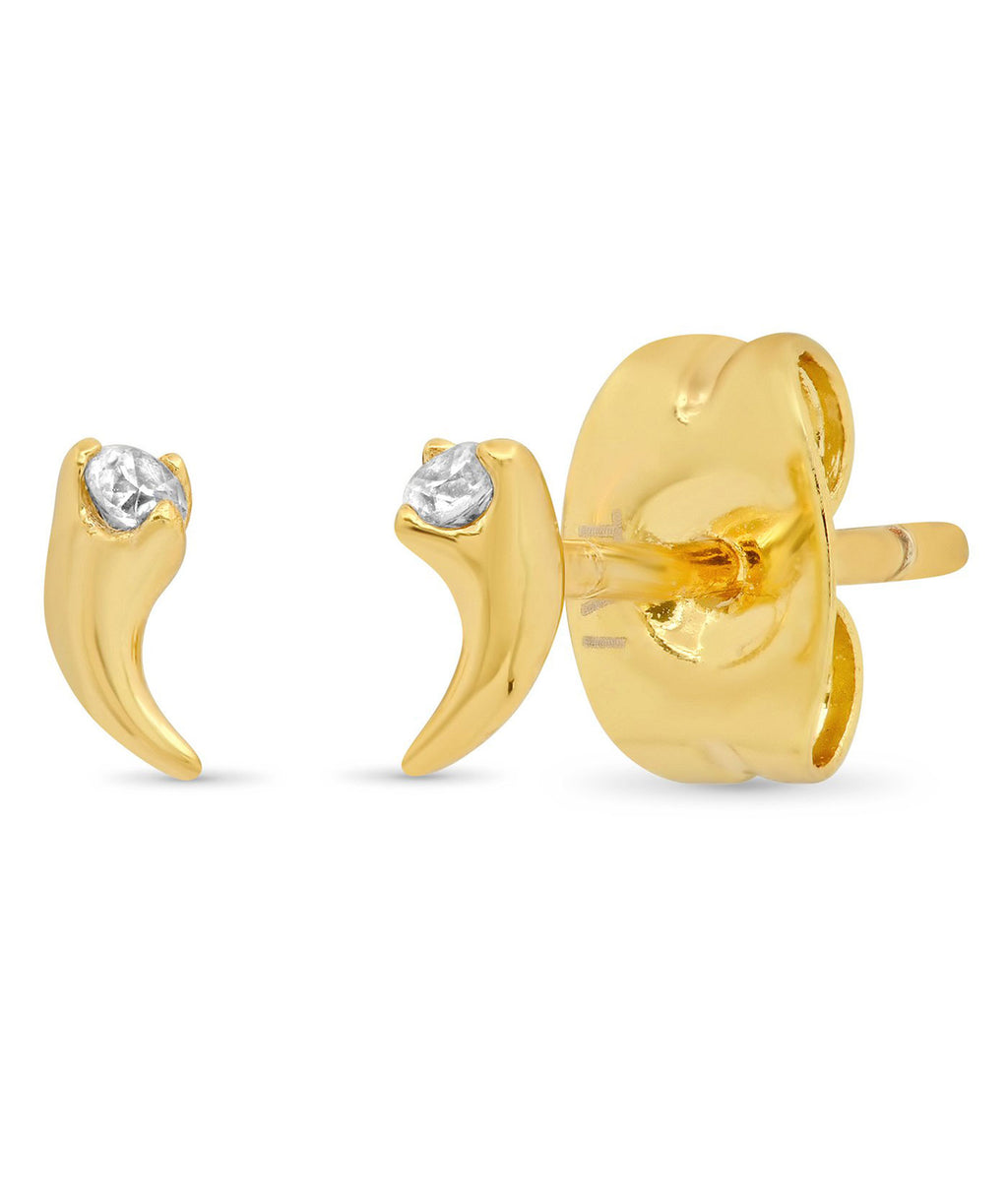 TAI Gold Mini Horn Earrings