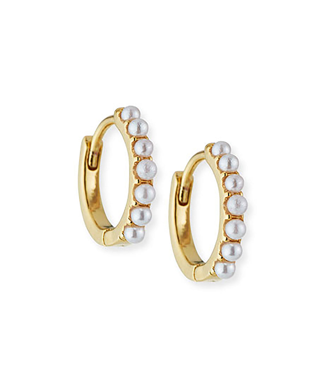 TAI Gold Pearl Huggie Earrings