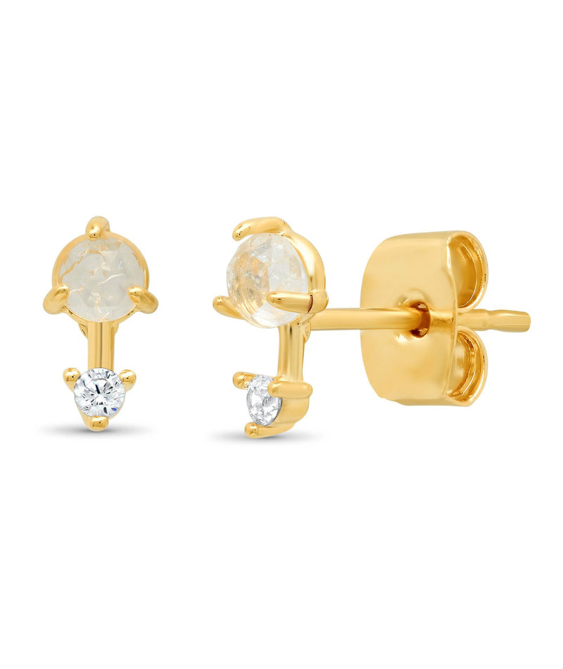 Tai Clear Rock Crystal Stud with Gold Bar and CZ Accent