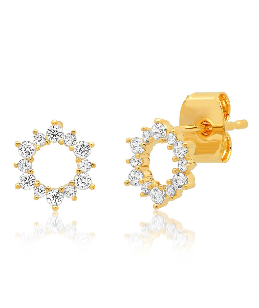 TAI Gold Pave Flower Stud Earrings