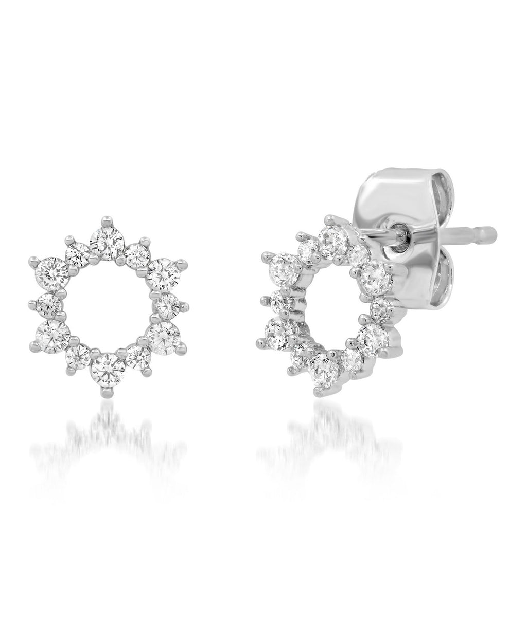 TAI Silver Pave Flower Stud Earrings