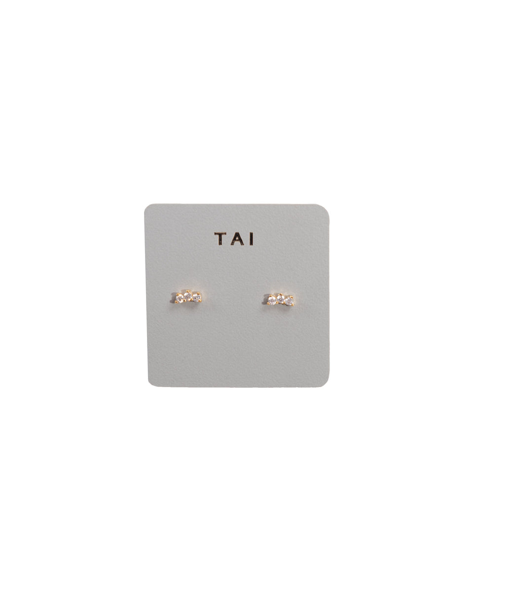 TAI Gold Three Stone Stud Earrings