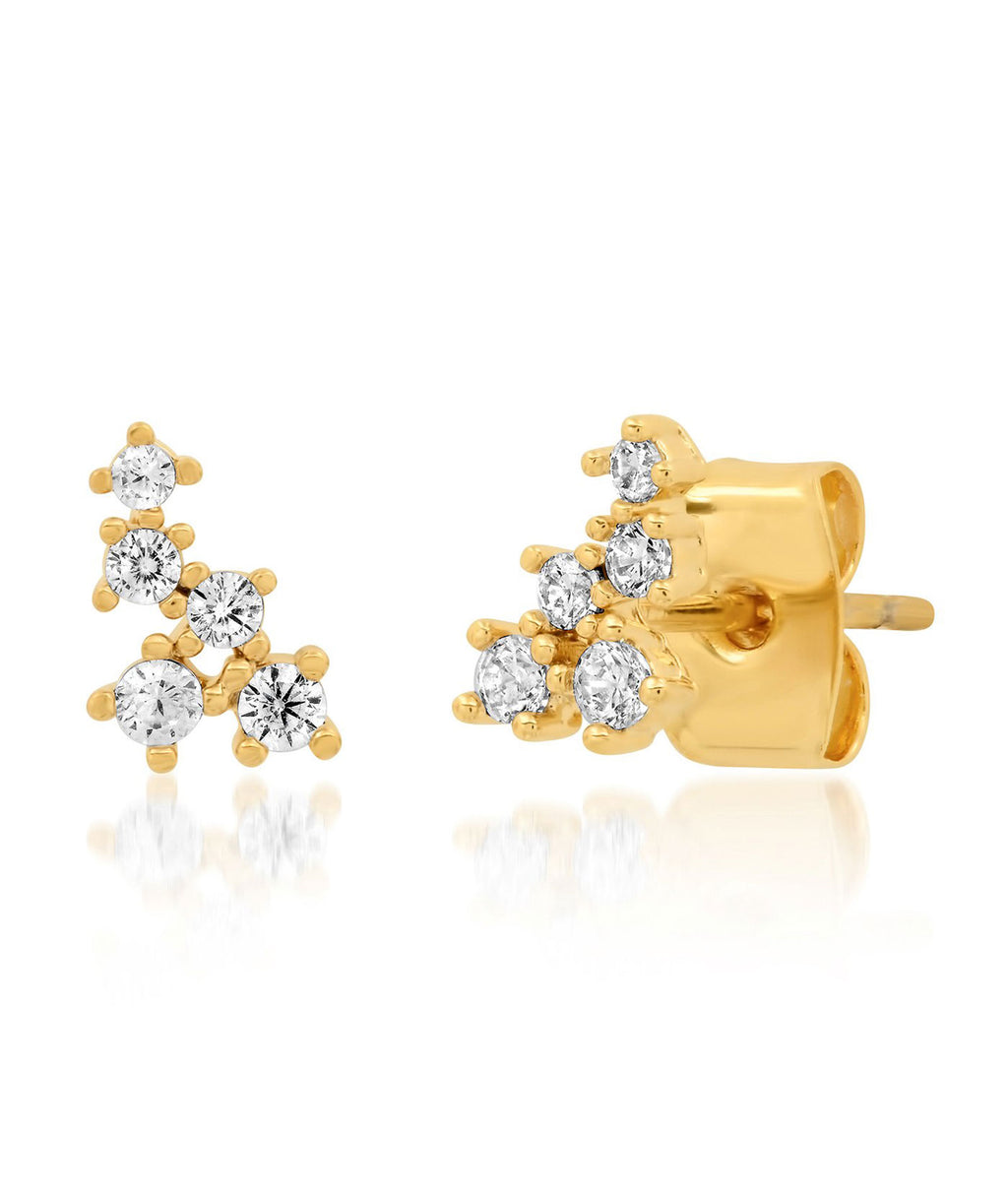 TAI Gold Five Cluster Stud Earrings