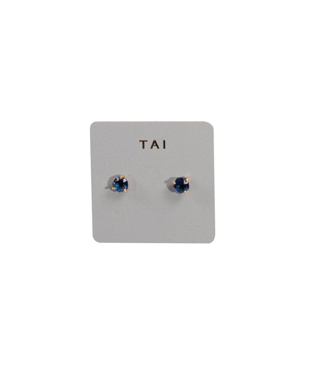 TAI Blue Glass Stud Earrings