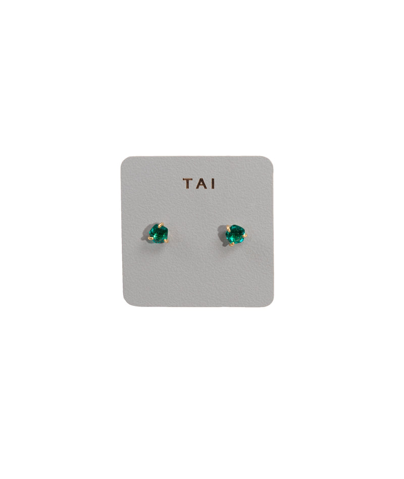 TAI Green Glass Stud Earrings