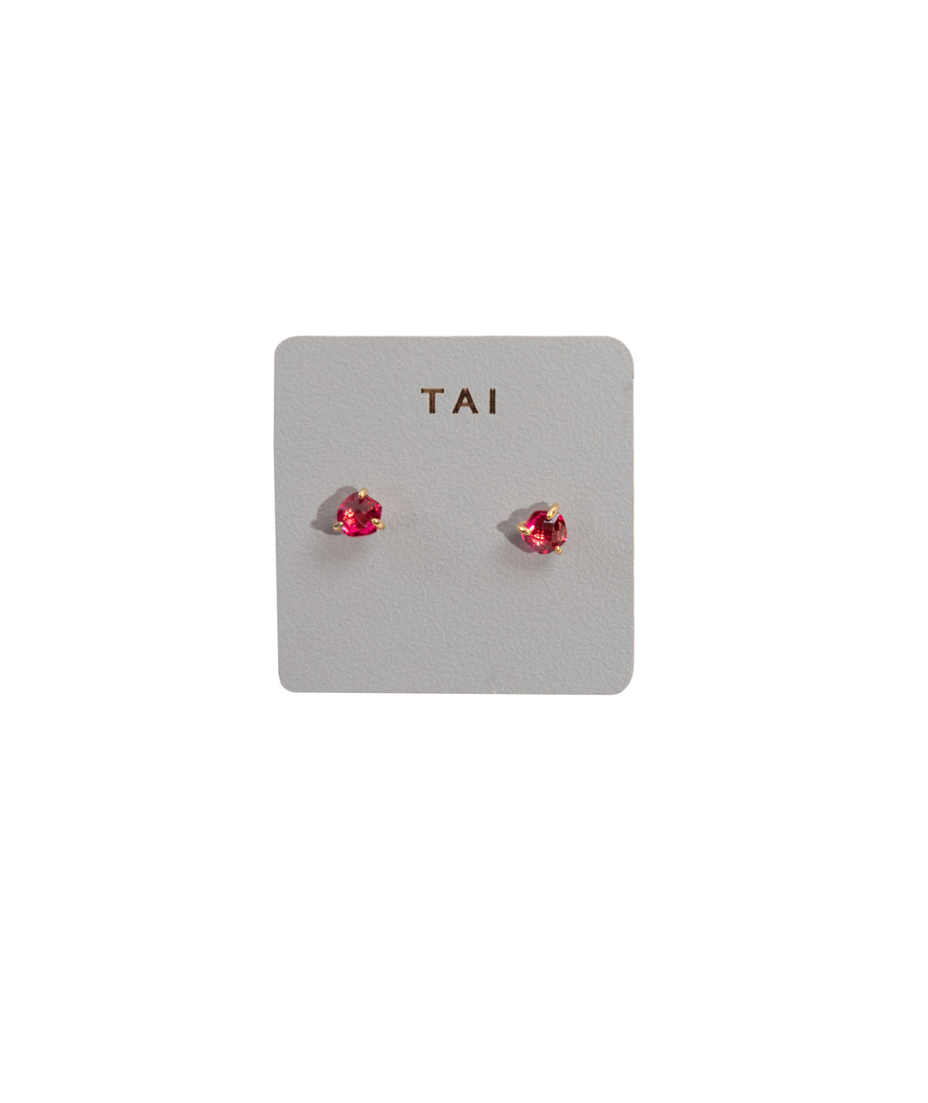 TAI Red Glass Stud Earrings