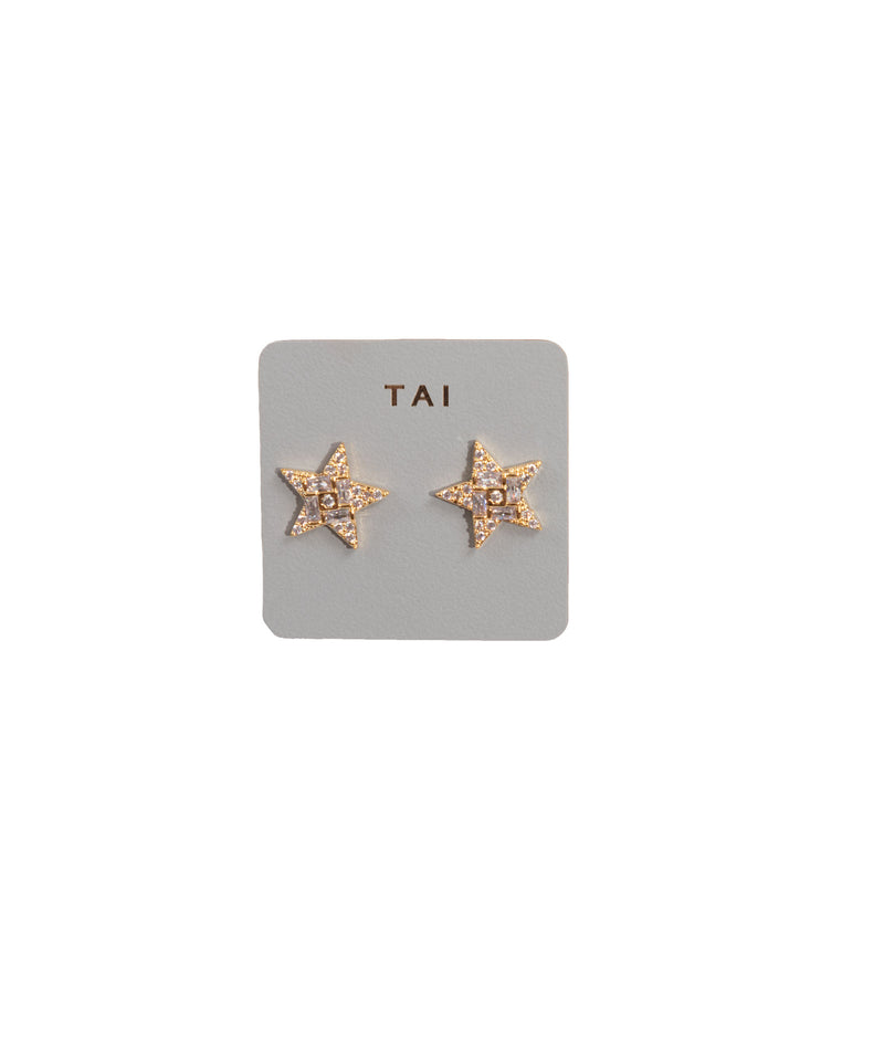 TAI Gold Star Stud Earrings