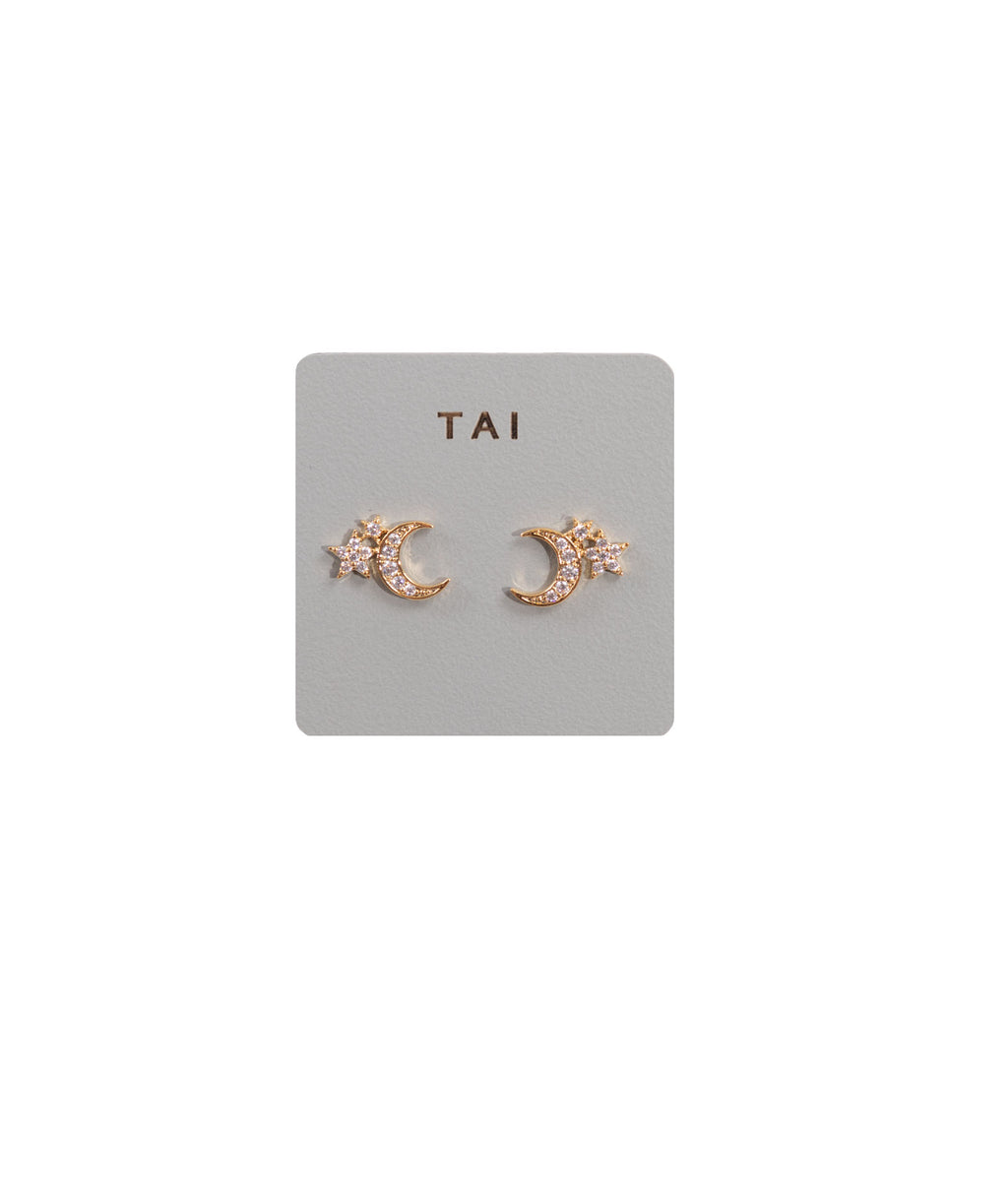TAI Gold Moon and Star Stud Earrings