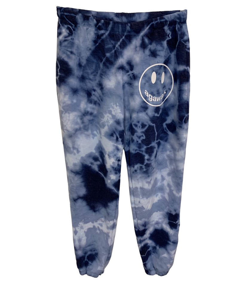 Blue Tie Dye Sweatpants With Small White Camp Smiley Girls