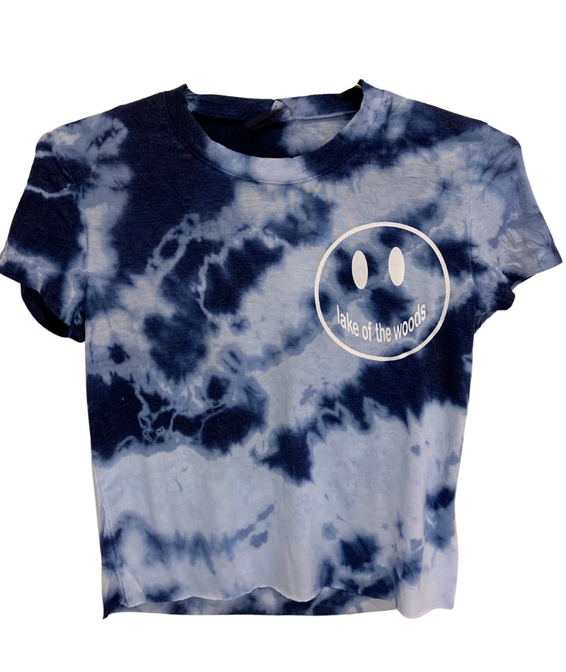 Blue Tie Dye Short Sleeve Tee With Small White Camp Smiley Juniors
