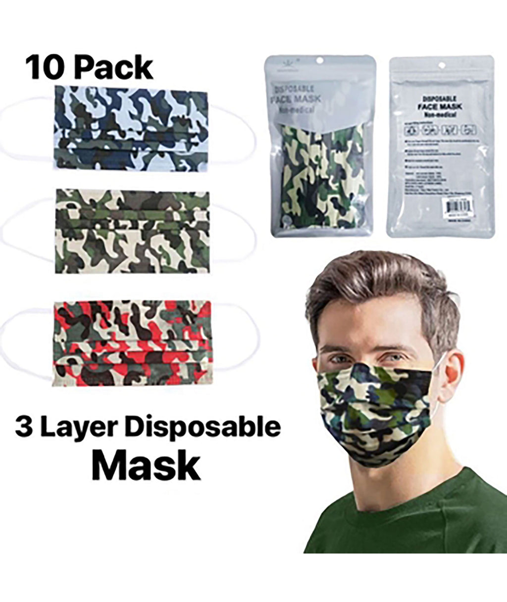 Confetti & Friends 10 Pack Disposable Masks Camo